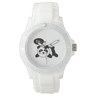 Desenhos animados da panda bonito do sono relógios