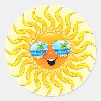 Desenhos animados de Sun do verão com etiquetas