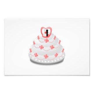 Desenhos animados do bolo de casamento impressão de foto