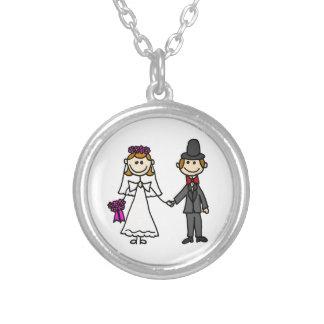 Desenhos animados do casamento dos noivos colar banhado a prata