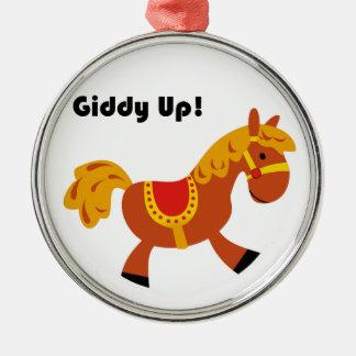 Desenhos animados do cavalo de sela do Brown das Enfeite Para Arvore De Natal