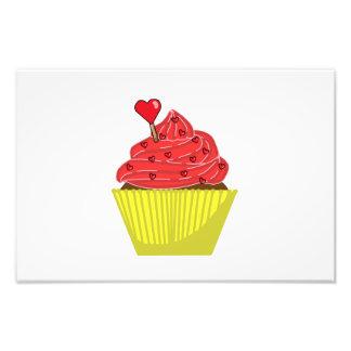 Desenhos animados do cupcake do amor impressão de foto