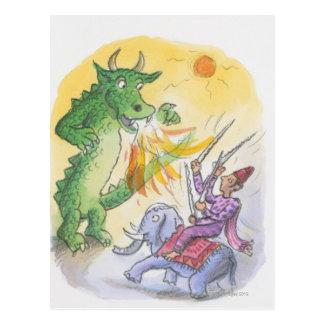 Desenhos animados do dragão de respiração do fogo cartão postal