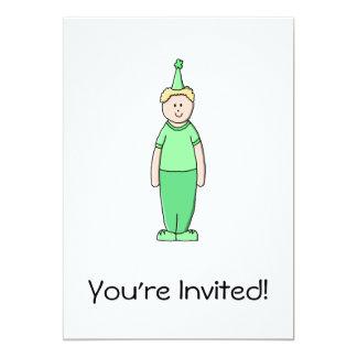 Desenhos animados do menino do aniversário no convite 12.7 x 17.78cm