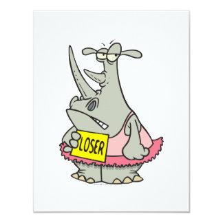 desenhos animados do rinoceronte da bailarina da convites personalizado