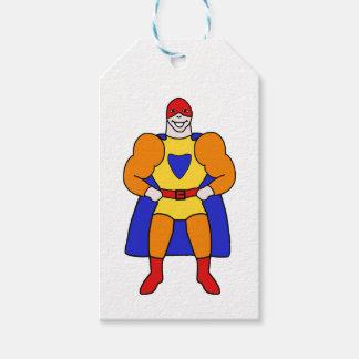 Desenhos animados do super-herói etiqueta para presente