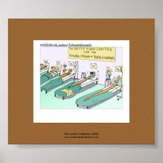 Desenhos animados engraçados da reabilitação do poster