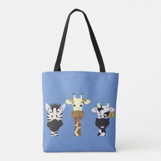 Desenhos animados engraçados da vaca do girafa da bolsas tote