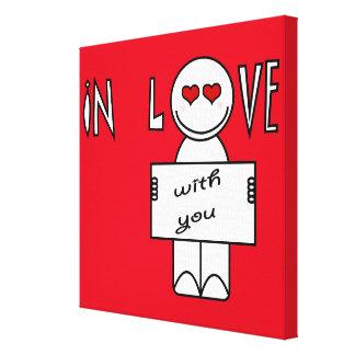 Desenhos animados engraçados do amor impressão em canvas