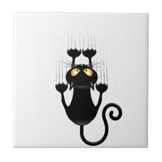 Desenhos animados engraçados do gato preto que azulejo de cerâmica