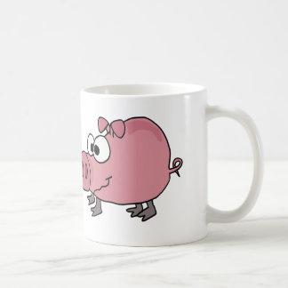 Desenhos animados patetas engraçados do porco caneca de café