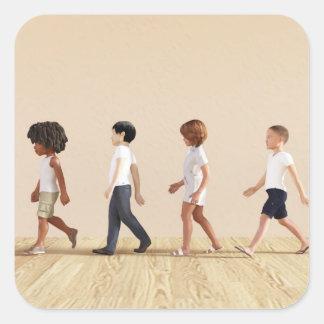 Desenvolvimento infantil com aprendizagem e jogo adesivo quadrado