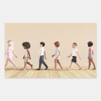 Desenvolvimento infantil com aprendizagem e jogo adesivo retangular