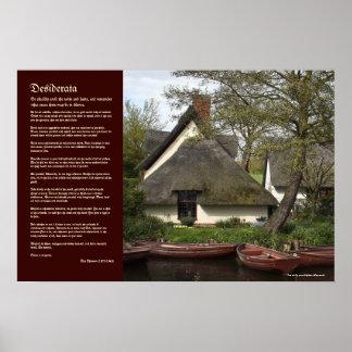 Desiderata - casa de campo Thatched de Willy Lott Posters