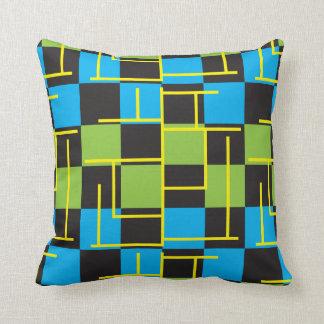 Design abstrato azul, verde e amarelo almofada