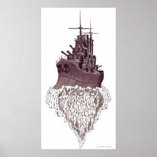 Design abstrato do poster da arte gráfica da navio