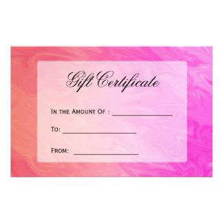 Design alaranjado do rosa do certificado de flyer 13.97 x 21.59cm