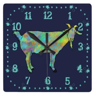 Design animal colorido da cabra verde da arte relógio quadrado