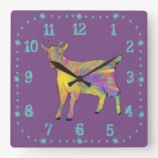 Design animal da arte da cabra artística engraçada relógio quadrado