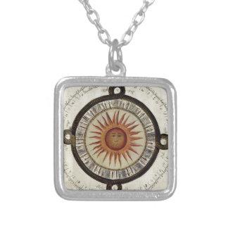 Design asteca do calendário do sol colar banhado a prata