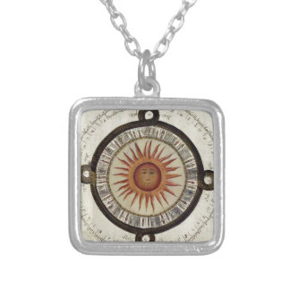 Design asteca do calendário do sol colar com pendente quadrado