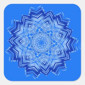 Design azul da mandala em etiquetas adesivo quadrado