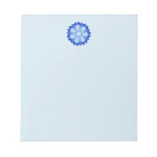 Design azul da mandala no bloco de notas