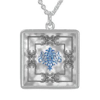 Design azul elegante do damasco! colar de prata esterlina