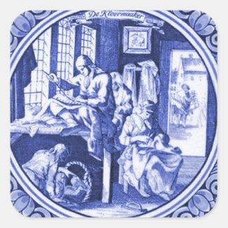 Design azul holandês do azulejo de Delft do Adesivo Quadrado