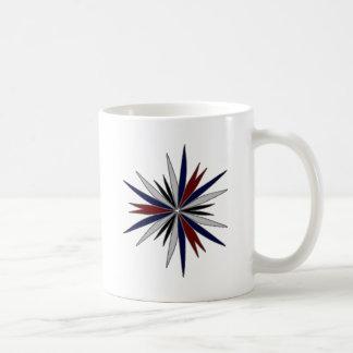 Design azul/vermelho/branco da estrela caneca de café