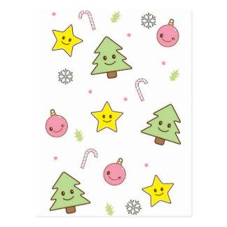 Design bonito do Natal de Kawaii Cartão Postal