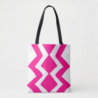 Design branco cor-de-rosa do ziguezague bolsas tote