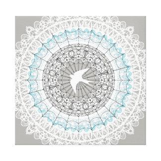 Design branco delicado da mandala do laço impressão em tela