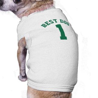 Design branco & verde escuro do jérsei dos camisa sem mangas para cachorro