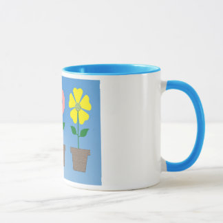 Design colorido do flowerpot na caneca de café