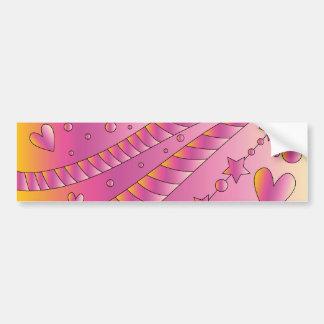 Design cor-de-rosa com corações e estrelas adesivo para carro