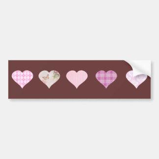 Design cor-de-rosa do coração do amor - castanho c adesivo para carro
