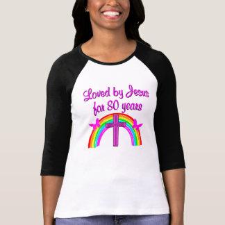DESIGN CRISTÃO do ARCO-ÍRIS do ANIVERSÁRIO do 80 T-shirt