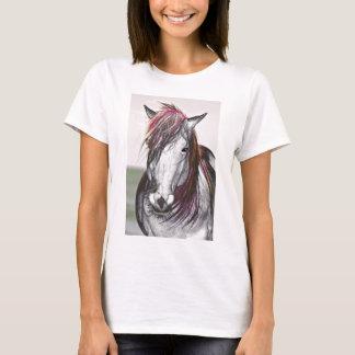 Design da arte do cabelo do rosa do cavalo branco camiseta