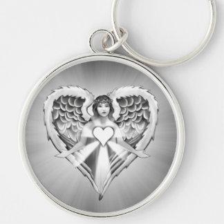Design da asa do coração do anjo-da-guarda) chaveiro redondo na cor prata