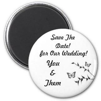 Design da borboleta, economias Wedding a data! Ímã Redondo 5.08cm