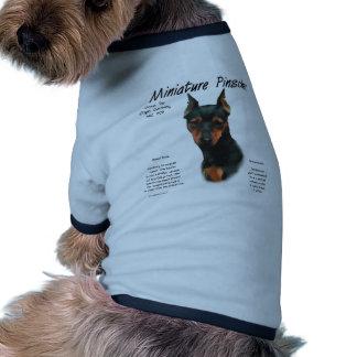 Design da história do Pinscher diminuto (preto/oxi Camisas Para Cães