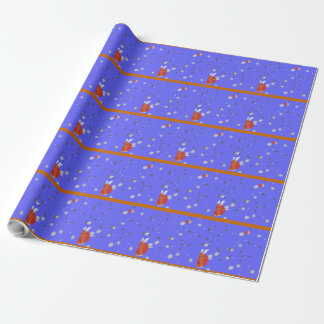 Design da neve em azul/laranja/papel de papel de presente