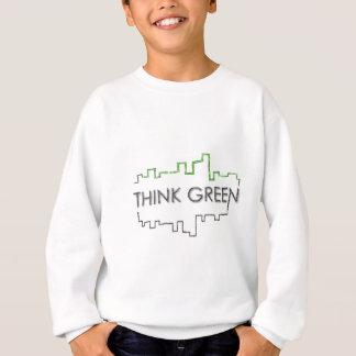 Design da skyline da cidade do pense verde t-shirt