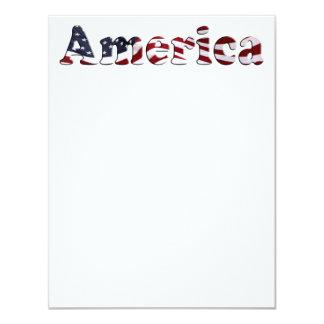 Design de texto da bandeira de América Convite 10.79 X 13.97cm