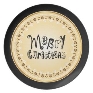 Design de texto preto do Feliz Natal - vintage Pratos De Festas