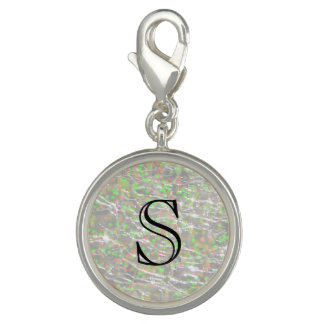 Design de vidro Crackled de Birthstone - Opal de Charms Com Fotos