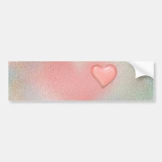 Design de vidro lustroso cor-de-rosa do coração adesivo para carro