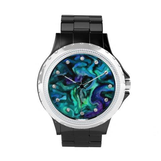 Design do abstrato do verde azul e do roxo relogio
