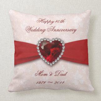 Design do aniversário de casamento do damasco 40th almofada